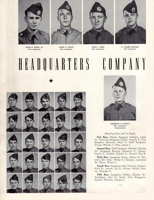 Cpl. Palumbo's command staff of his Company.