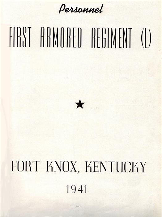 1st Armored Regiment (L) title page.