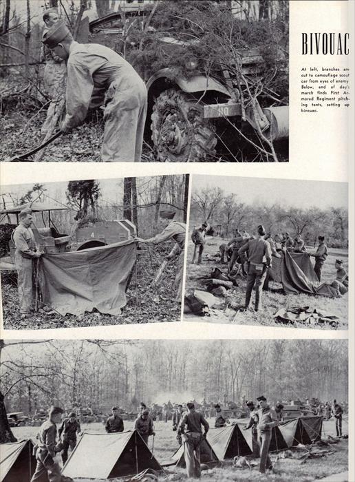 Pics of soldiers at a bivouac.