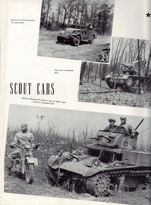 Various 'Scout Cars' used by the 1st Armored Division, ranging from Armored Cars to light Command Tanks.