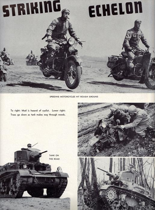 The 'Striking Echelon' composed of scouts on motorcycles and light tanks.