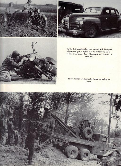 Various vehicles used by the 1st Armor Division, from clockwise, left-to-right; motorcycle with sidecar, staff car, ten-ton wrecker, and motorcycle (being used as cover from enemy small arms fire).