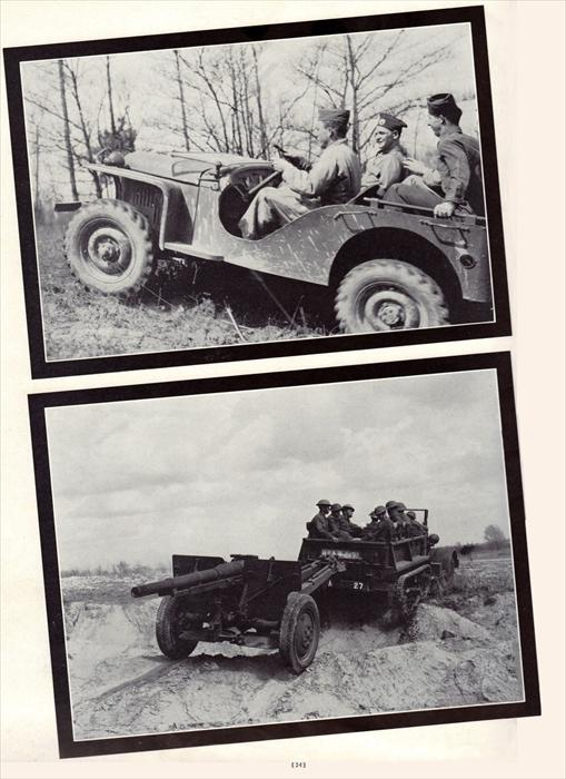 The all-purpose jeep and half-track pulling a small artillery piece.