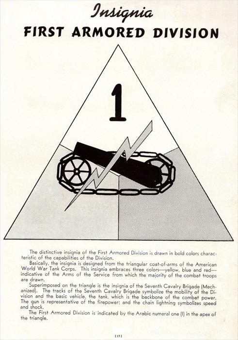 Old black & white pic of original 1st Armored Division insignia with description and history behind it.