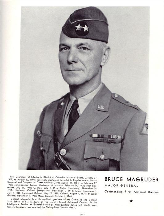 Major General Bruce Magruder, Commander, 1st Armored Division.  Picture taken circa, 1941.