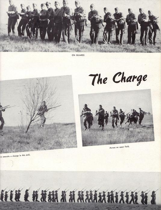 Infantry soldiers in the field, demonstrating the charge.
