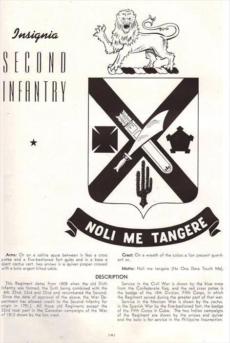 Old black and white pic of the 2nd Infantry Regiment's heraldry and background information.