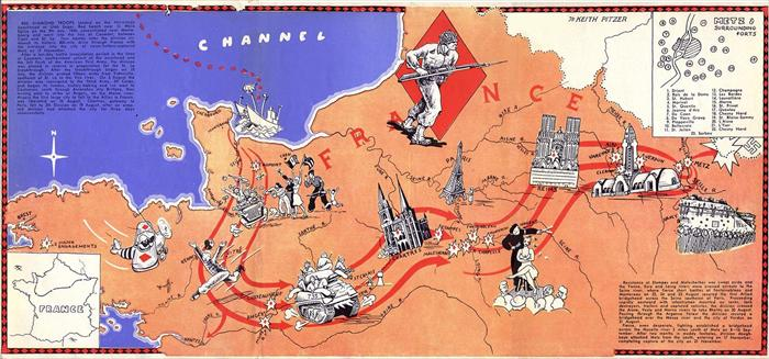 A map of Europe, of the 5th Infantry Division's route during World War II.  Map was created by Technician 5th Class Keith Pitzer.