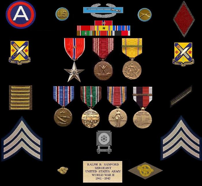 Top Row, the 3rd Army patch (left), 5th Inf. Div. Patch (right). Next to patches, Enlisted Collar discs. Above military ribbons is the Combat Infantryman Badge. The 7 ribbons & medals; Bronze Star Medal w/1 OLC, Army Good Conduct Medal, American Defense Service Medal w/1 bronze star, European-African-Middle-Eastern Campaign medal w/1 silver campaign star (Denotes 5 campaigns; Normandy, Northern France, Rhineland, Ardennes-Alsace, & Central Europe), World War II Victory Medal, & Army of Occupation Medal w/Germany Clasp. On left side is 'Ruptured Duck', honorable discharge lapel pin, right side, sew-on 'Ruptured Duck' Honorable Discharge patch. In the center is his Driver/Mechanic Badge with Driver-T (Track) bar. On the left side are his overseas bars (denotes 3 years foreign service) & on right side is one service bar (denotes 3 years honorable service). Bottom row is the highest rank he wore--Sergeant.  Near the SGT stripes, are his DUI for the 2nd Inf.