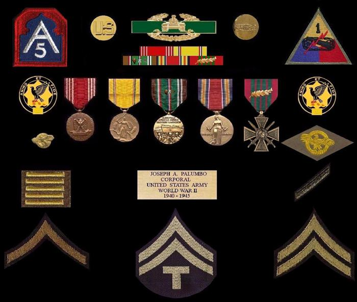 Top Row, 5th Army patch. The patch on the right, 1st AR Div. Patch. Next to patches, Enlisted Collar discs. Above military ribbons is unofficial Combat Armor Badge that denotes combat service (similar to their infantry brethren). The 4 ribbons & medals; Army Good Conduct Medal, American Defense Service Medal, European-African-Middle-Eastern Campaign medal w/Arrowhead device, 1 silver & bronze campaign stars (denoting Tunisian & Italian campaigns), WW II Victory Medal, & French Croixe de Guerre w/Palm. Adjacent to ribbons is the 1st Armored Regiment 'Blackhawks' regimental insignia. On left side is 'Ruptured Duck', honorable discharge lapel pin, right side, sew-on 'Ruptured Duck' Honorable Discharge patch. Below these insignia, left sides are overseas bars (denotes 2 years foreign service) & on right side is one service bar (denotes 3 years honorable service). On the bottom row are the ranks he wore; Private First Class, Technician 5th Class, & Corporal