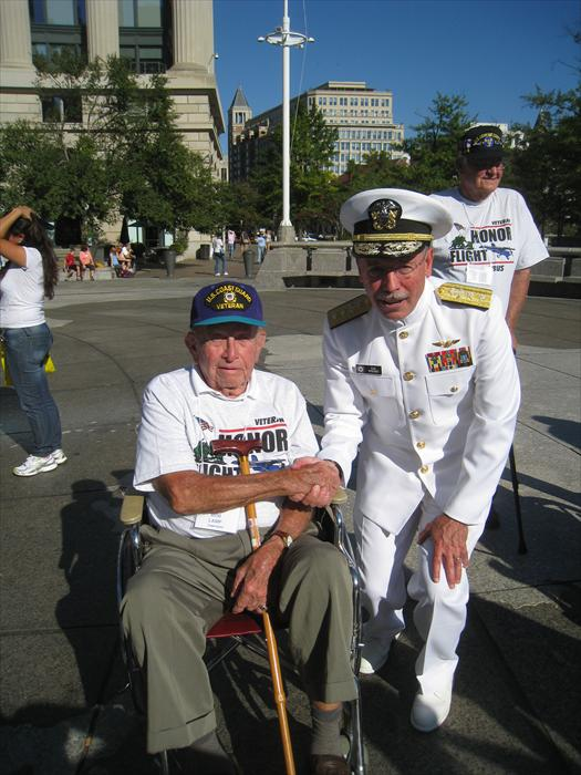 Bob Lamp gets a special thank you from the Admiral of the Navy at the United States Navy Memorial.