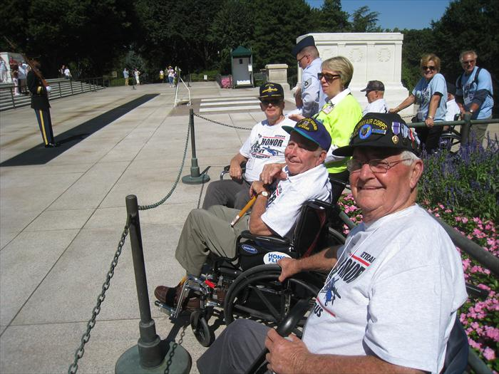 Bob Lamp and Bob Hickman get front row seats for the Changing of the Guards Ceremony at the Tomb of the Unknown Soldier.