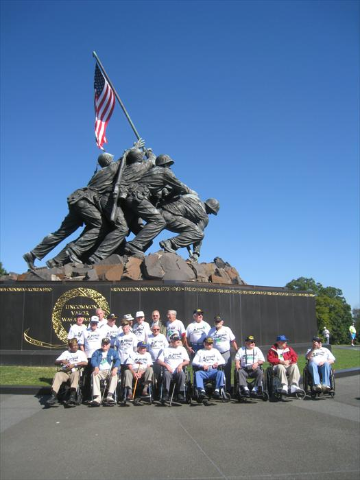 WWII Hero Bill Taylor and the Honor Flight Green Team at the Iwo Jima Memorial in Washington, D.C.