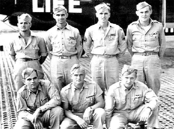 Flak Shak B-24 Crew members. Top Left:  Ed Hartupee, ballgunner; Virgil Anderson, top gunner; Francis Brittain Jr. nosegunner;  Robert Hickman, tailgunner. Bottom Left: Kenneth Leasure, navigator; Volney Wiggins, pilot; Matthew Hall, copilot.   Missing due to wounds were John P. Dempsey, bombardier; Martin J. Caine, radio operator; Wilson B. Shimer, engineer.