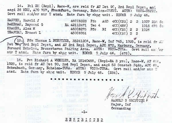 This is the order that sent my grandfather back to the states.