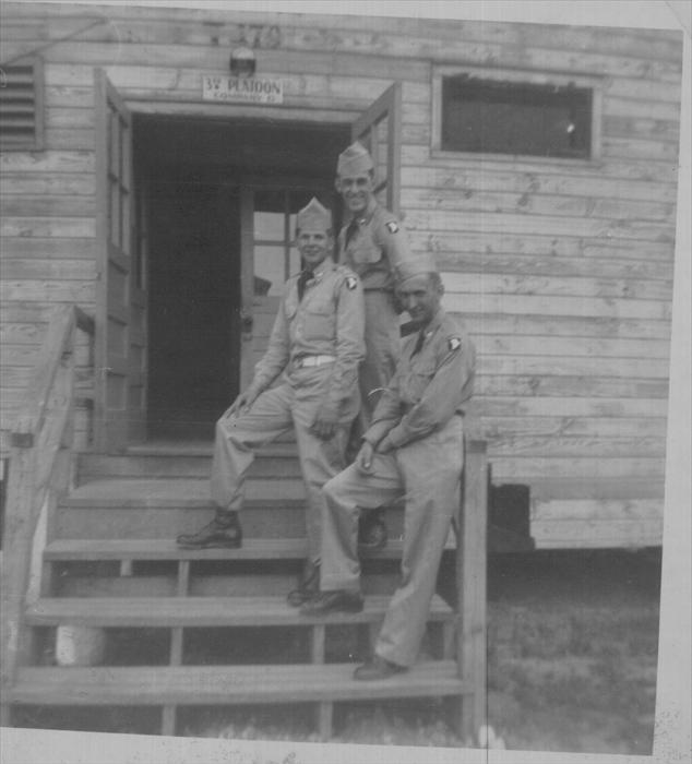 Camp Breckinridge, Morgantown, Kentucky.  Dad, 21 years old, upper right. Other men unknown. 