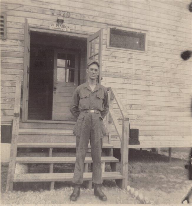 Dad in fatigues in front of his barrack.  Camp Breckinridge, April-July 1951.
