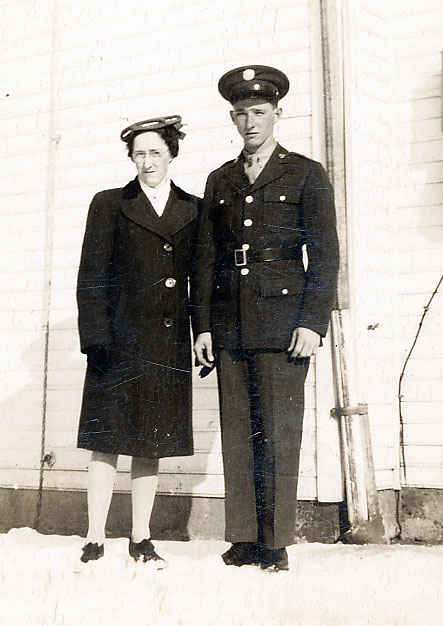 My grandfather with his mother before leaving for Europe, January 18, 1945.