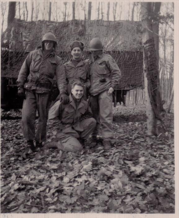 "Smitty?, Iusiak, ""English"", 1st Inf Div Hq Co men on maneuver, Germany, 1951-1953."