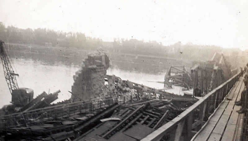 Bridge on the Rhine that had been bombed.
