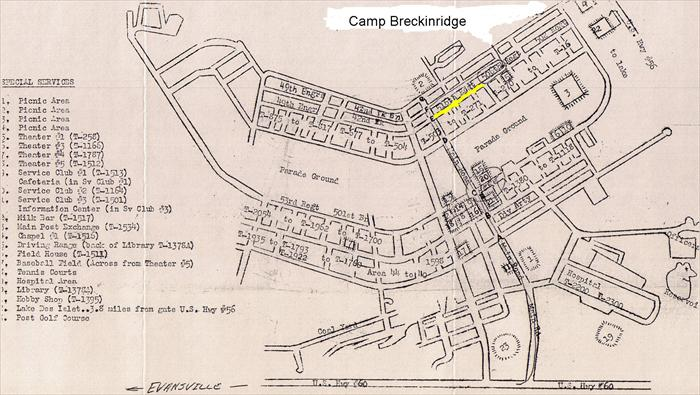A great map provided by Vicki at the Camp Breckinridge Museum and Arts Center. The yellow area indicates the location of the 516th Regiment my dad's regiment.