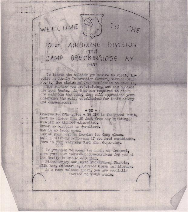 Here's a copy from Ken Klinger's Camp Breckinridge memorabilia.