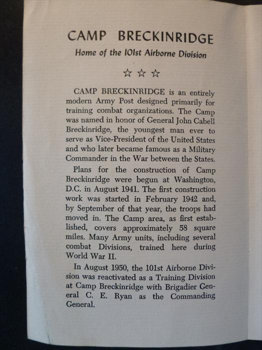 Ken Klinger memorabilia-Armed Forces Day at Camp Breckinridge, 1951, P.1.