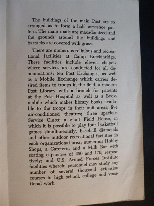 Ken Klinger memorabilia-Armed Forces Day at Camp Breckinridge, 1951, P. 2.