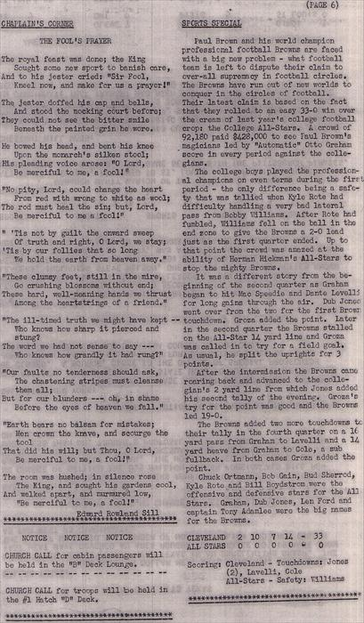 Page 6.  USNS George W. Goethals (T-AP-182) Troopship Newsletter August 1951