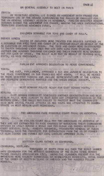 Page 4, USNS George W. Goethals (T-AP-182) Troopship Newsletter, August 1951.