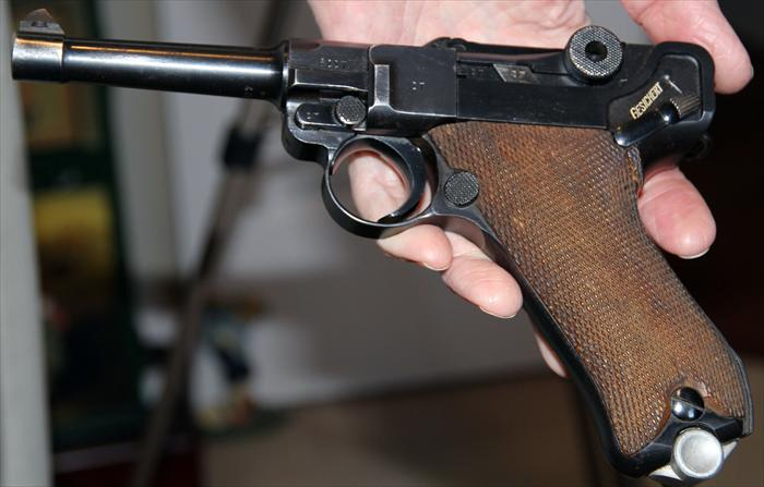 Pistole Parabellum 1908 known as the iconic Luger from World War II.
