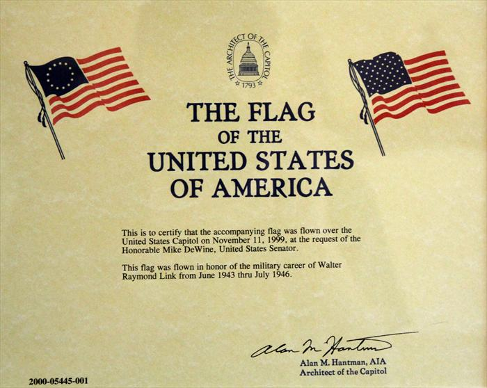 Flag flown in honor of Walter Link at the Capitol on November, 11 1999.