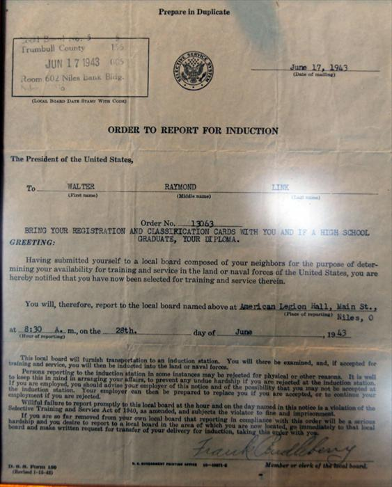 Orders Walter received to officially begin his World War II journey.
