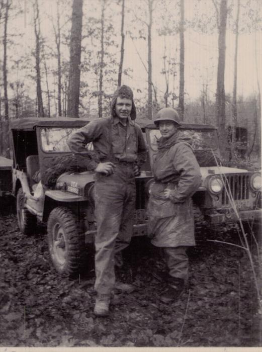 Stretch and Frenchie (Joe Hershberger) on maneuver, Germany, with 1st Inf. Div. HQ CO.