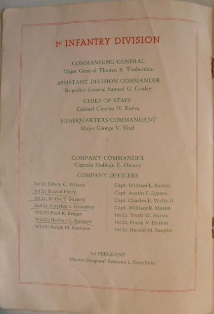 Christmas menu and roster. Lt. Charles Grimsley is found in my father's photos.