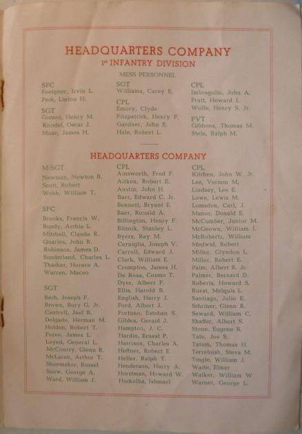 Christmas menu and roster. Cpl. Harry J. English is found in my father's photos.