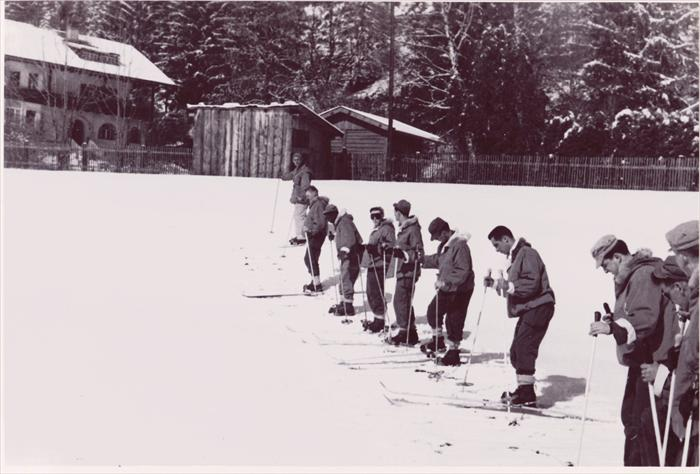 1st Infantry Division HQ CO men in Garmisch, Germany (1951-1953).  Dad is at the left wearing light-colored trousers.