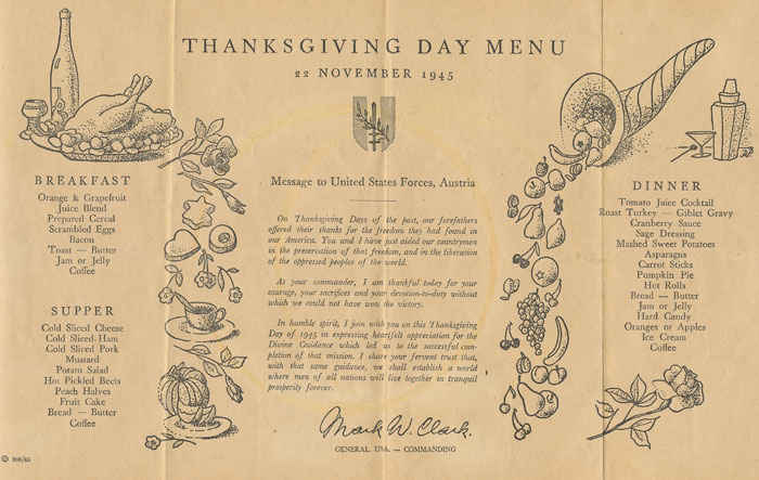 Thanksgiving day feast, November 1945.