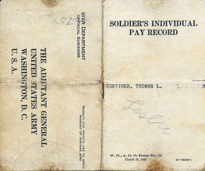Soldier's individual pay record book. Was to insure soldier's against delay in receiving their money.