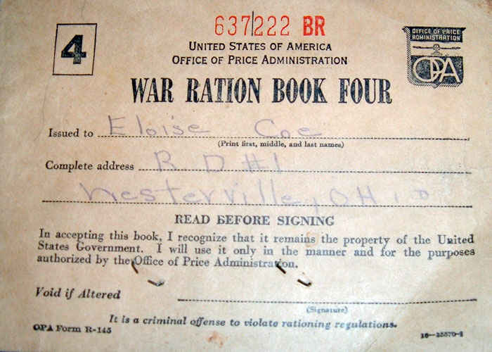 War ration book used by Norman sister Eloise.