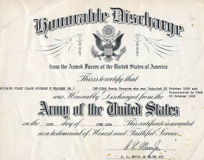 Honorably Discharged on October 20 1950 and transfered to Army Reserve.