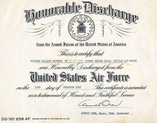 Honorably Discharge.