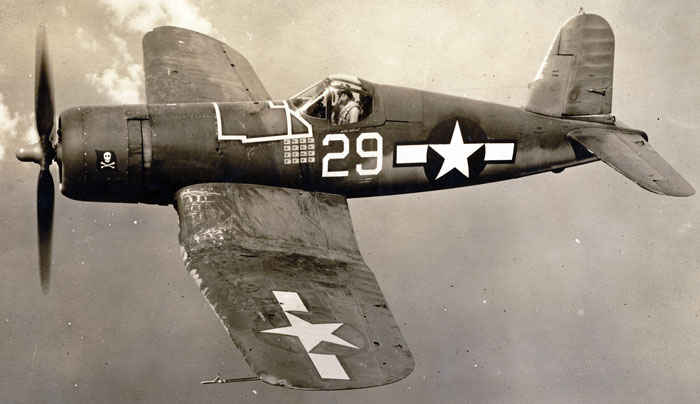 F4U Corsair 1944 Skull and Corssbones Squadron VF-17 Soutth Pacfic. Ire Kepford shown in this picture was my grandfather's squadron's top ace.