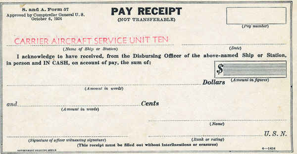 Carrier Aircraft Service Unit Ten pay receipt.