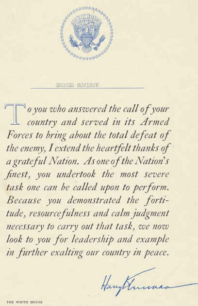This is the letter from President Truman that every serviceman received after the war was won.