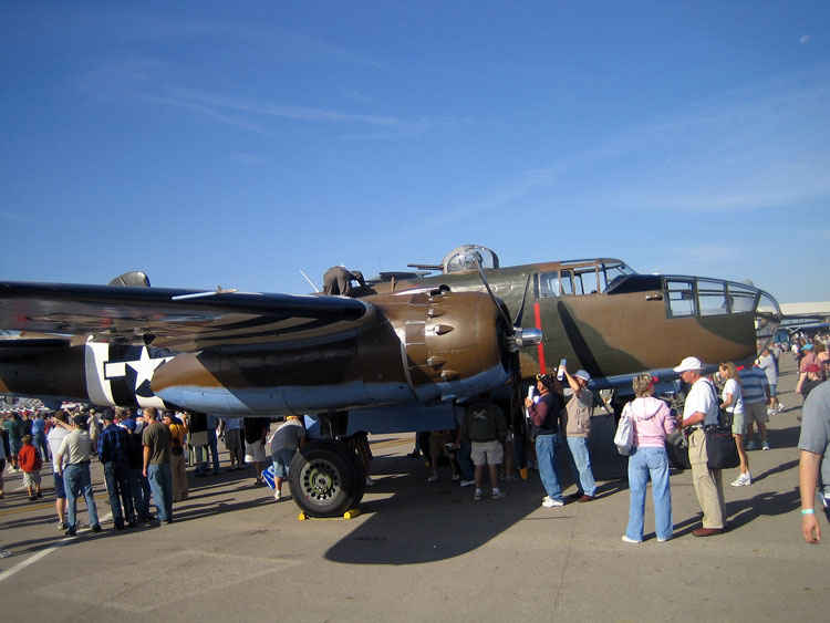 B25 Mitchell. The bomber used in the April 1942 Doolittle Raid, in which B-25s, led by Jimmy Doolittle, took off from the carrier USS Hornet and successfully bombed Tokyo.