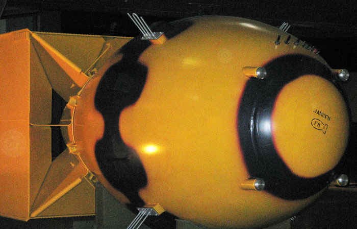 Fat Man, the bomb used over Nagasaki, Japan. It was an implosion-type weapon made of plutonium. The Little Boy bomb first dropped on Japan was made out of enriched uranium.
