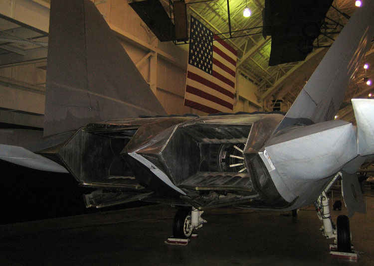 Tail pipe of a F22, notice the thrust vectoring capability.