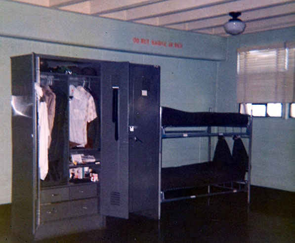 More modern barracks Dennis stayed at while training for the advanced infantry training for the Hawk Missile.  There was an east and west wing and four stories with approximately 30 men per room. Ft. Bliss, TX 1973.