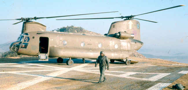 Chinook in Korea 1973-1974. Landed to drop off & pick up supplies on a 100 foot square pad.